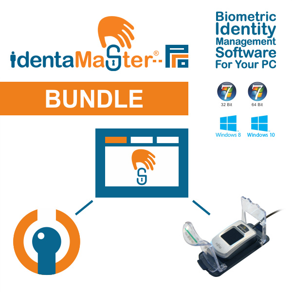 IdentaMaster Biometric Bundle with Fujitsu PalmSecure V2 Sensor KD03816 Palm Vein Reader with Shell and Guide